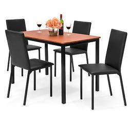BCP 5-Piece Dining Table Set w/ 4 Faux Leather Chairs - Blac