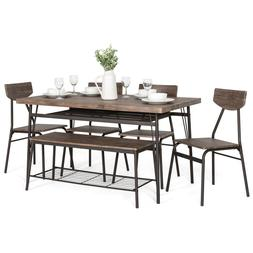BCP 6-Piece Modern Dining Set w/ Storage Racks, Table, Bench