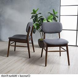 Beatrice Charcoal Fabric Mid Century Modern Dining Chairs Se