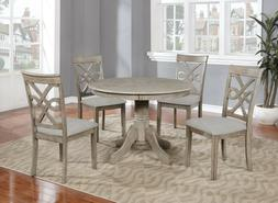 Beautiful 5PC Wood Round Dining Table Set, Grey Hardwood Tab
