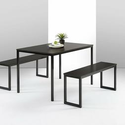 Zinus Becky Farmhouse Dining Table with Two Benches 3 Piece