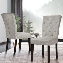 Beige Dining Chair Leisure Padded Chair with Sturdy Wood Leg
