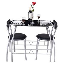 Giantex 3 Piece Bistro Dining Set with Breakfast Chairs, Tem