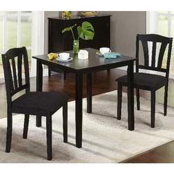 Black 3-Piece Solid Wood Dining Set Small Kitchen Furniture