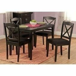 Black 5 piece Wooden Dining Set 4 Fabric Chairs Table Kitche