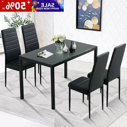 Black 5 Piece Dining Table Sets Glass Metal 4 PU Leather Cha