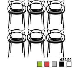 2xhome Set of 6 Black Dining Room Chairs - Modern Contempora