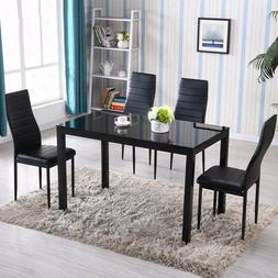 Black Glass Dining Table 4pcs Dining Chairs Faux Leather Kit