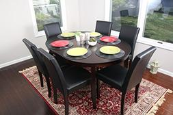 Black Leather 7pc Oval Solid Top Dining Table Contemporary C