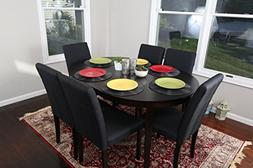 Black Linen 7pc Oval Solid Top Dining Table Contemporary Cap
