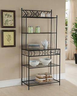 Black Metal 5 Tier Kitchen Bakers Rack Stand With Shelves &