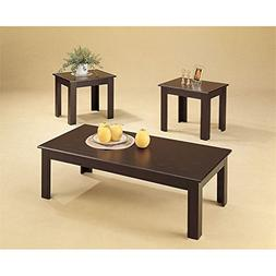 3pc Black Oak Veneer Parquet Coffee Table & 2 Side Tables Se