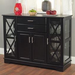 Black Wood Buffet Dining Room Sideboard with Glass Doors Dec