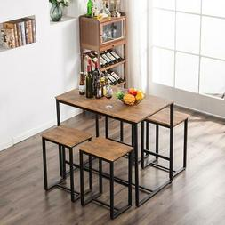 Breakfast 5 Piece Wood Dining Table Set 4 Chair Metal Kitche