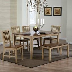 Sunset Trading Brookdale 6 Piece Rectangle Dining Set with B