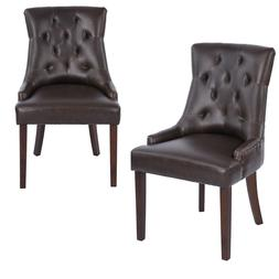 Brown Bonded PU Leather Tufted Dining Chairs Accent Chair Se