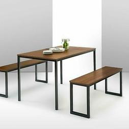 Brown Dining Table Set 3 Piece Benches Breakfast Nook Steel