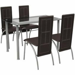 vidaXL Brown Metal 5 pcs Dining Set Table 4 Chairs Kitchen D