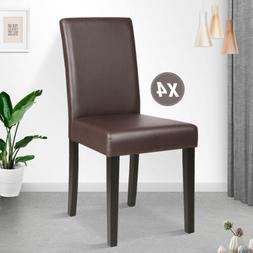 Set of 4 Dining Chair Leather Dinette Kitchen Room Backrest