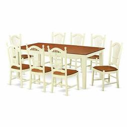 Buttermilk/Cherry Finish Solid Rubberwood 9-Piece Dining Set