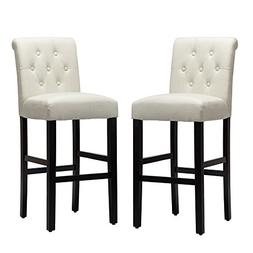 LSSBOUGHT Set of 2 Button-tufted Fabric Barstools Dining Hig