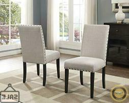 Roundhill Furniture Biony Tan Fabric Dining Chairs with Nail