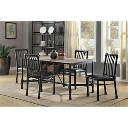 ACME Furniture Caitlin 5 Piece Dining Set in Rustic Oak and