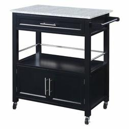 Linon Cameron Kitchen Cart With Granite Top In Black 464809B
