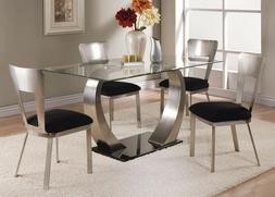 Acme Furniture Camille 5 Piece Glass & Metal Dining Room Tab
