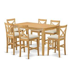 East West Furniture CAPB7H-OAK-C 7 Piece Pub Table and 6 Bar