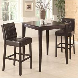 Coaster Cappuccino Square Leg Table 3 Piece Pub Set in Cappu