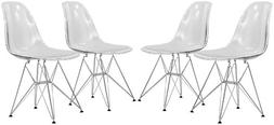 LeisureMod Carey Modern Eiffel Base Molded Side Dining Chair