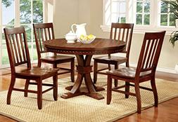 Furniture of America Castile 5-Piece Transitional Round Dini
