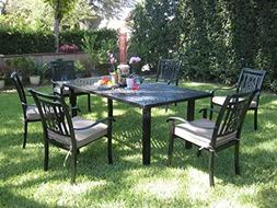 CBM Outdoor Cast Aluminum Patio Furniture 7 Piece Dining Set