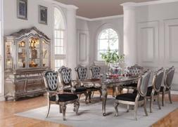 ACME CHANTELLE 9 PC DINING TABLE SET ANTIQUE PLATINUM