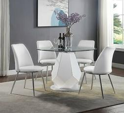 Acme Furniture Chara 5 Piece Glass Top Table Dining Room Set