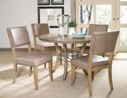 Hillsdale Charleston 5 Piece Round Wood Dining Set with Pars