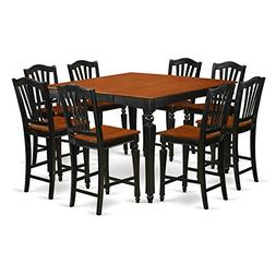 East West Furniture CHEL9-BLK-W 9-Piece Counter Height Table