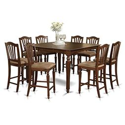 East West Furniture CHEL9-MAH-C 9-Piece Gathering Table Set