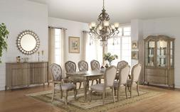 ACME Chelmsford antique taupe beige fabric dining set 66050