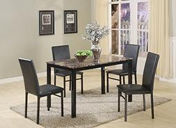 Roundhill Furniture 5 Piece Citico Metal Dinette Set with La