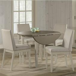Clarion Five  Piece Round Drop Leaf Dining Set with Upholste