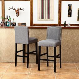 LSSBOUGHT Set of 2 Classic Fabric Barstools Dining High Coun