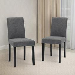 LSSBOUGHT Set of 2 Classic Fabric Dining Chairs Dining Room