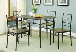 Coaster 100033 Home Furnishings 5 Piece Dining Set, Dark Bro