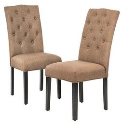 Set of 2 Coffee Fabric Contemporary Elegant Design Dining Ch