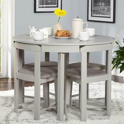 Compact Dining Set 5 Piece Round Breakfast Kitchen Small Spa