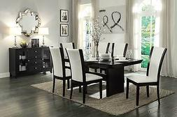 CONTEMPORARY 7 PC ESPRESSO FINISH INSET GLASS DINING TABLE &