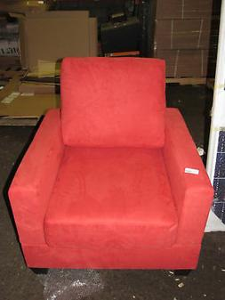 Poundex Coral Red Microfiber Accent Chair