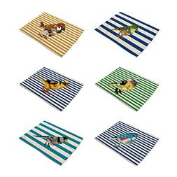 HACASO 6 Pieces Cotton Linen Placemats Bird Pattern Dining T